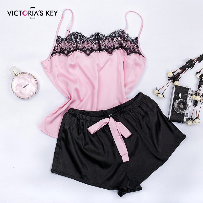 H5c910238b7104cf486d2107d7e2ce0596 - Suphis Floral Lace Pink Cami Pajama Set Women Black Short Set Summer Casual Nightwear Ladies Sexy Satin Sleepwear