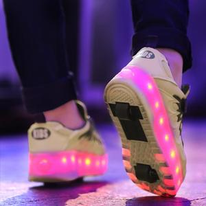 Image 2 - 黒ピンクグレー usb 充電ファッション led ライトローラースケート靴子供のためのスニーカーとホイールホイール