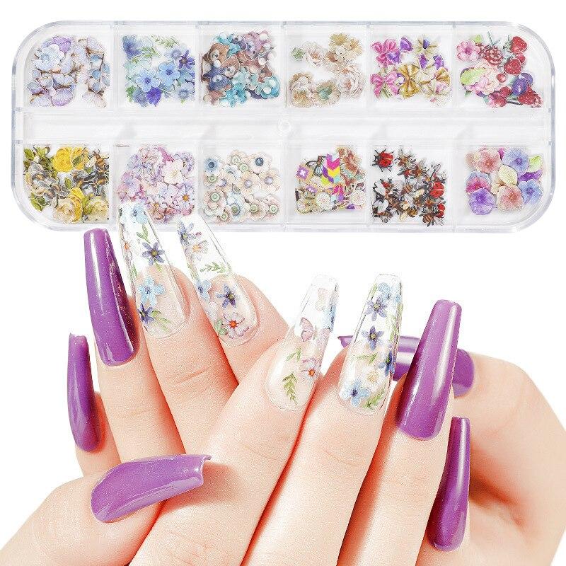 Купить набор из 12 наклеек для украшения ногтей в виде подсолнуха 3d