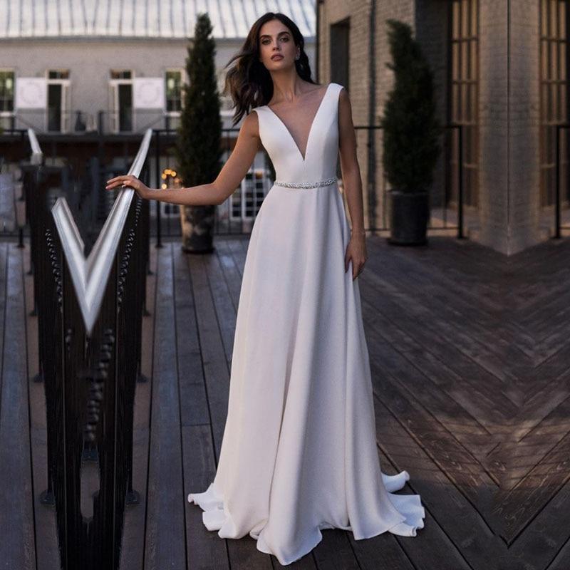Eightale Vintage Wedding Dress V-Neck A-Line Beaded Sashes Backless Satin Custom Made Long Beach Wedding Gowns Bride Dress