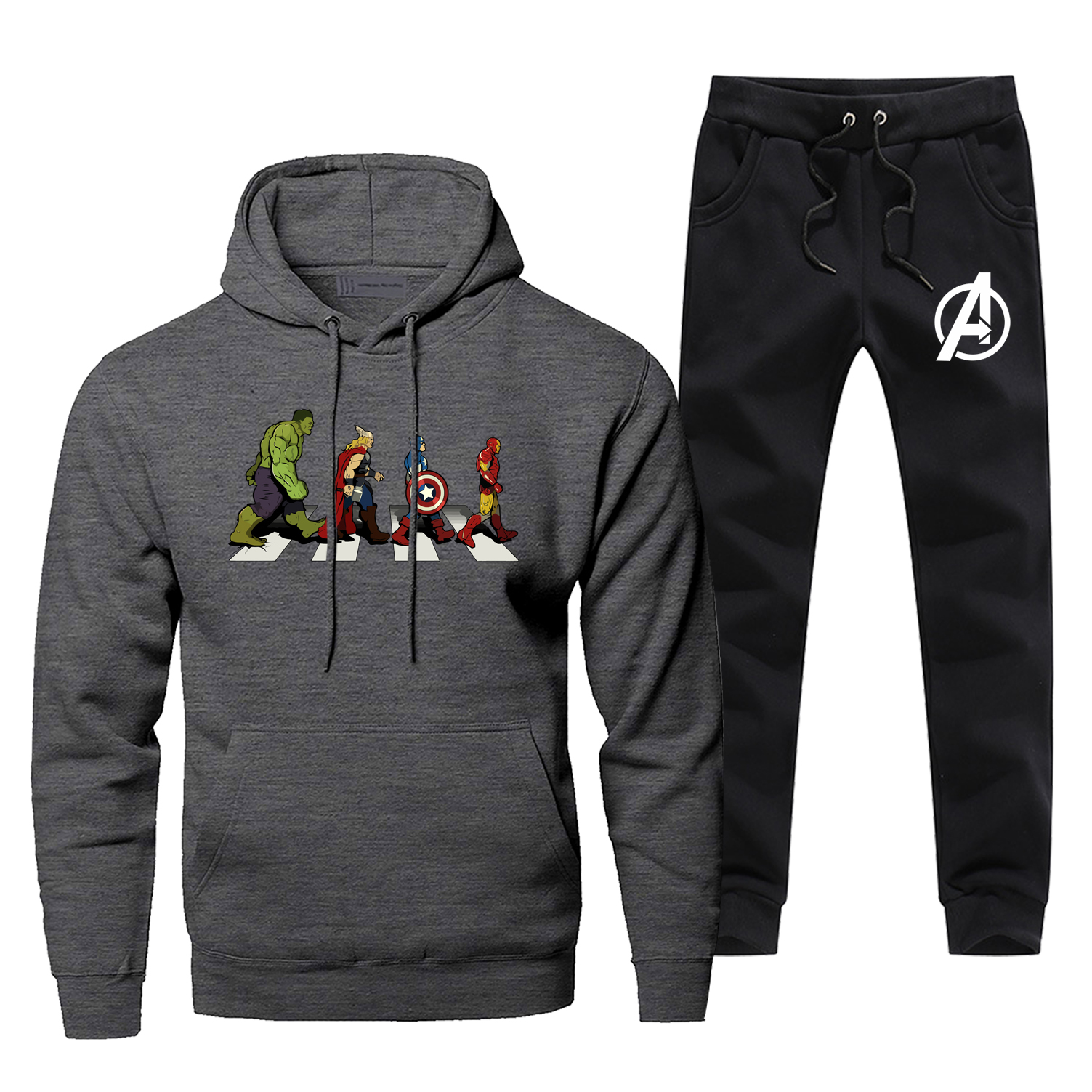 The Avengers Funny Print Hoodies Sweatshirts Iron Man Casual Mens Sets Fleece Fashion Sweatpants 2019 Winter Warm Chandal Hombre