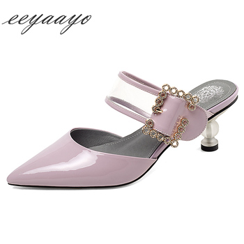 2020 New Summer Women Mules Slippers 5cm Middle Heel Pointed Toe Metal Buckle Sexy Ladies Women Shoes Purple Outside Slides