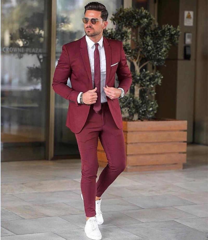 Eleganckie niestandardowe bordowy mężczyźni garnitur Blazers na imprezę bal 2 sztuk kurtka + spodnie Groom garnitury ślubne proste klapy męskie smokingi