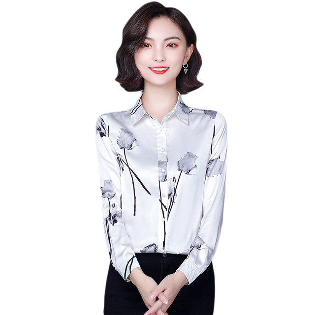 Chikichi 2021 New Spring Ladies Shirt Floral Long-sleeved Fashion Loose Oversized Satin Top Women Blouses Plus Size 4XL 5