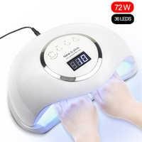 72W UV lampe à LED Gel lampe à ongles sèche-ongles pour ongles tous les Gel vernis capteur soleil lumière LED Art des ongles manucure outils