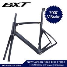 BXT New Carbon bike frame Ultralight carbon road frame 700C x 25C Full Carbon Road Frame di2 bicycle frameset fork seatpost