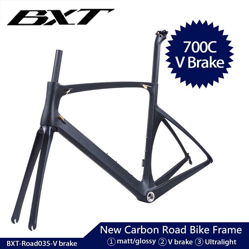 Bxt novo quadro da bicicleta de carbono ultraleve estrada quadro 700c x 25c completo carbono quadro estrada di2 bicicleta conjunto quadros garfo selim