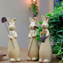 Nordic Creative Ceramic Labor Rabbit Figurines 3Pcs/Set Animal Micro Landscape Sculpture Home Office Decoration Accessories