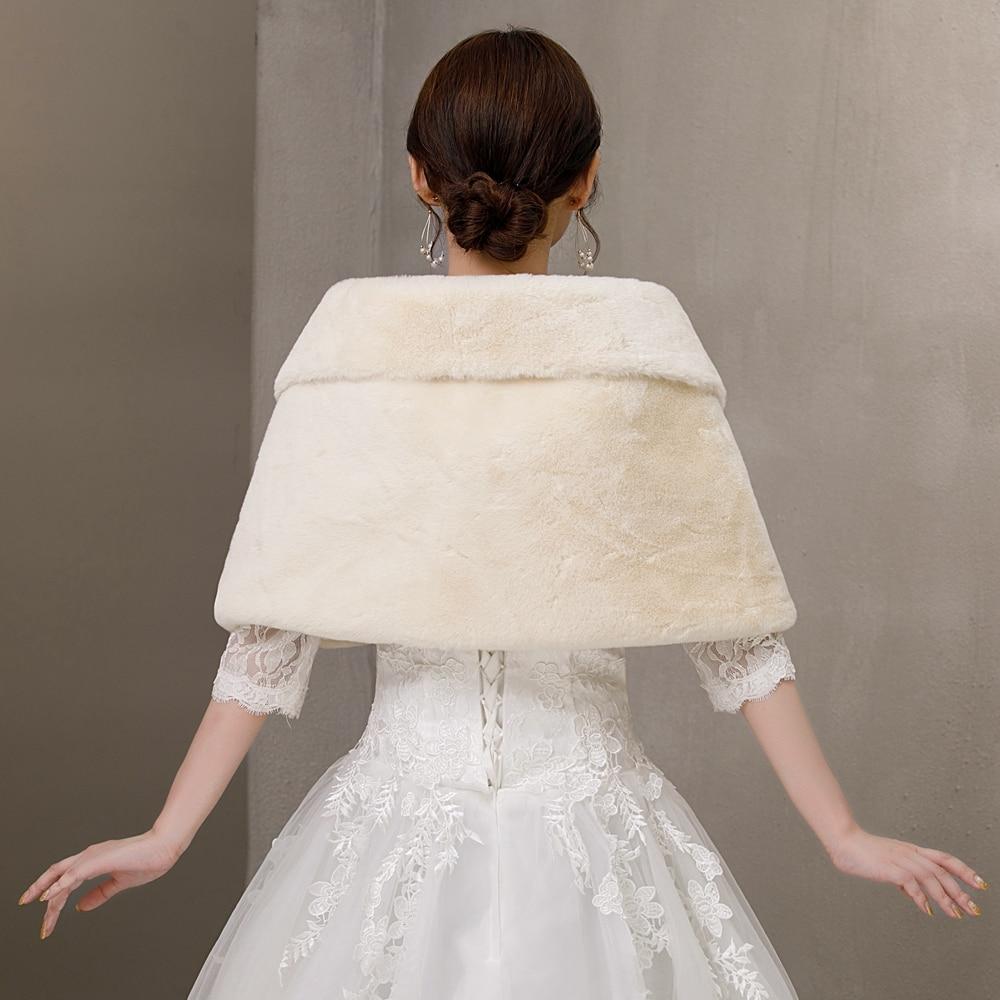 Walk Beside You Bridal Cape Khaki Faux Fur 100% Real Winter Warm Wedding Jacket Mariage Bolero Stock Shrug Femme Mariage