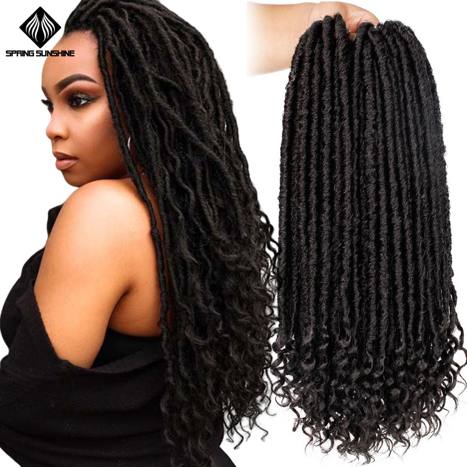 Spring Sunshine Goddess Faux Locs Culry Braid Crochet Hair Braids 16 20inch Soft Natural Black Braiding Synthetic Hair Extension