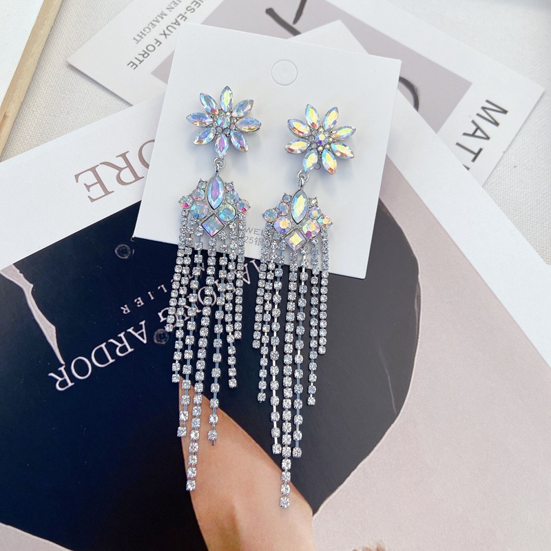 MENGJIQIAO Korean New Luxury Flower Crystal Drop Earrings For Women Elegant Rhinestone Tassel Long Pendientes Party Jewelry