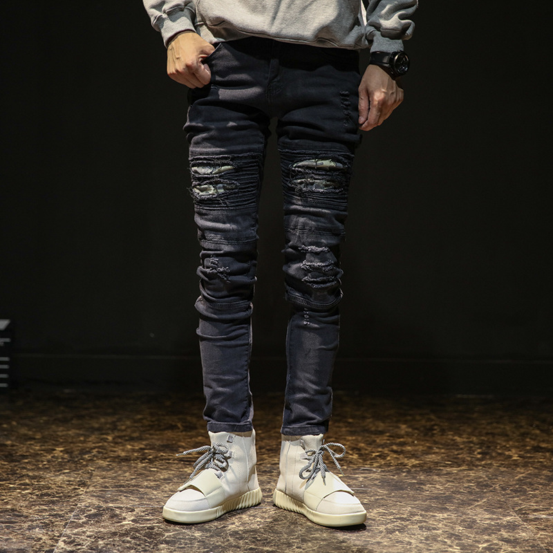 Spring Summer Europe And America Men Knee With Holes Jeans Elasticity High Street Trend Slim-Fit Pants Locomotive Pleated Skinny