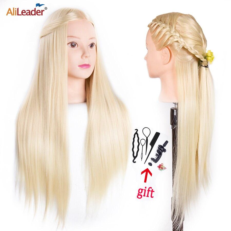 Alileader 65 см длинные волосы учебная головка для парикмахера Профессиональный манекен головы Парикмахерская модель головы для практики приче...