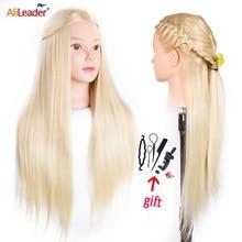 Alileader 65CM uzun saç eğitim başlığı için Hairstyler profesyonel manken kafa kuaförlük modeli kafa uygulama için saç