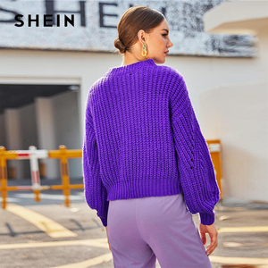 Image 4 - SHEIN Purple Drop Shoulder Pointelle Chunky Knit Sweater Women Tops Autumn Winter Solid Bishop Sleeve O Neck Casual Sweaters