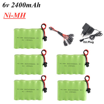 Batería AA Ni-MH de 6v y 2400mAh, conjunto de cargador USB para coche de juguete eléctrico de control remoto, modelo de barco Robot, 6v nimh, grupo de baterías recargables