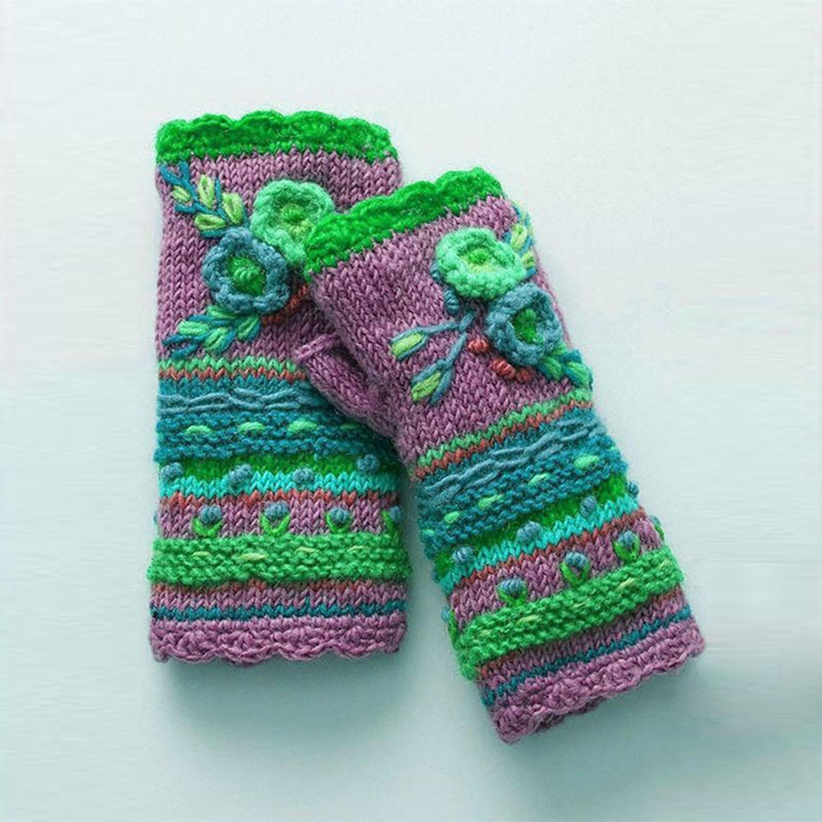 Womens Winter Warm Gloves Flower Knitted Fingerless Gloves Crochet Handwarmers Glove Mittens Without Fingers Cashmere Mittens