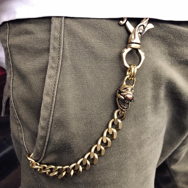 Punk Men Copper Metal Pants Jeans Chain Rock Hiphop Wallet Chain Fashion Motorcyle Waist Trousers Chains Theft Prevention