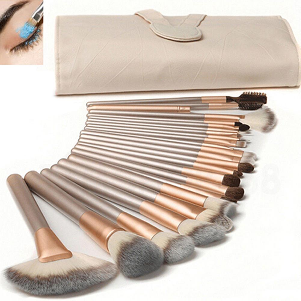24Pcs Portable Champagne Professional Make Up Brushes Set Foundation Kabuki Makeup Brushes With Storage Bag Beauty Makeup Tools