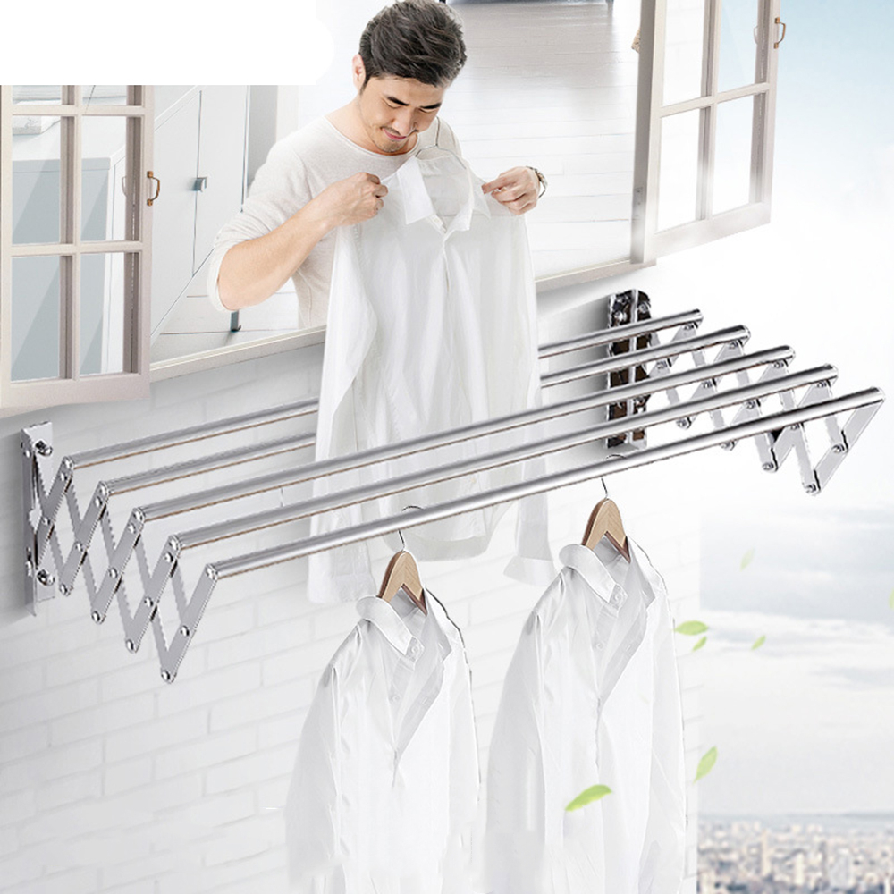 Luxury Bathroom Wall-mounted Outdoor Drying Rack Retractable Drying Rack Stainless Steel Clothesline Drying Rack Saves Space