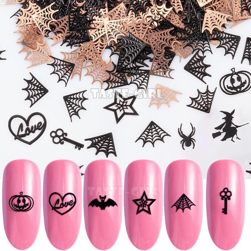 400PCS/Pack Halloween Pumpkin Face Witch Spider Web Bat Star Metallic Nail Sequins Brone Back Nail Art Slice Decoration Manicure