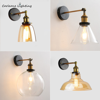 American Wall Lamp Industrial Vintage Loft Style Wall Light for Bedside Wall Sconce Glass Iron Art Edison E27 Lighting Fixtures american wall lamp industrial vintage loft style wall light for bedside wall sconce glass iron art edison e27 lighting fixtures