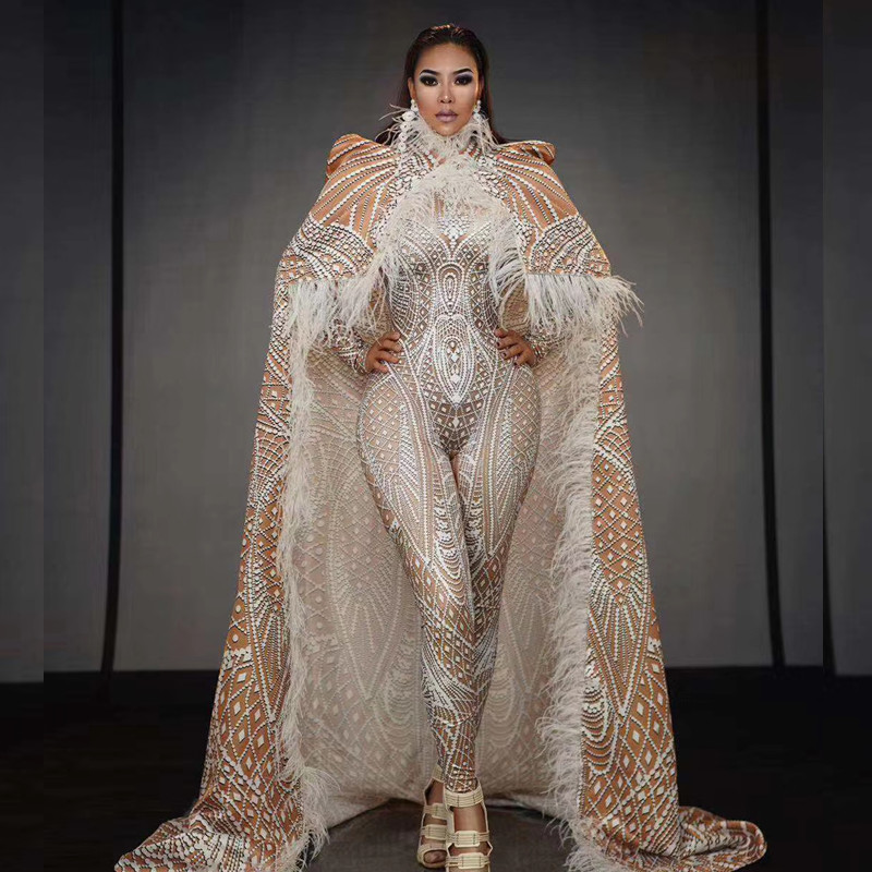 Luxury White Pattern Party Jumpsuit with Feather Long Cloak Women Evening Celebration Performance Costumes Stage Bodysuits