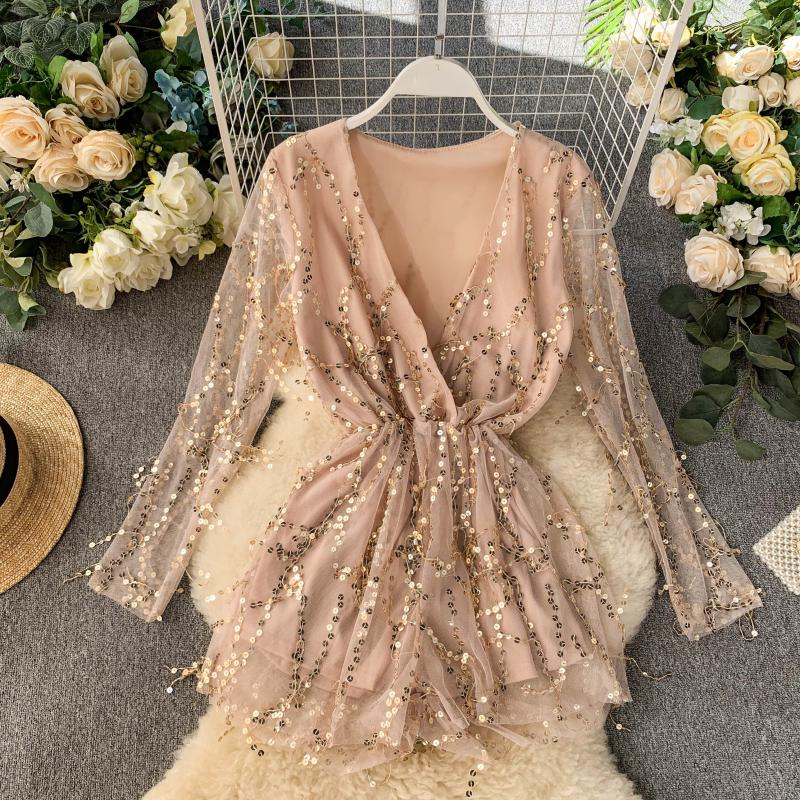 New Sexy Night V-neck Long Sleeve Slim Broad-legged Couplet Playsuits Sequin Rompers Womens Jumpsuit J846