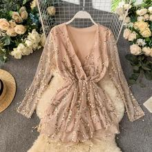 New Sexy Night V-neck Long Sleeve Slim Broad-legged Couplet Playsuits Sequin Rompers