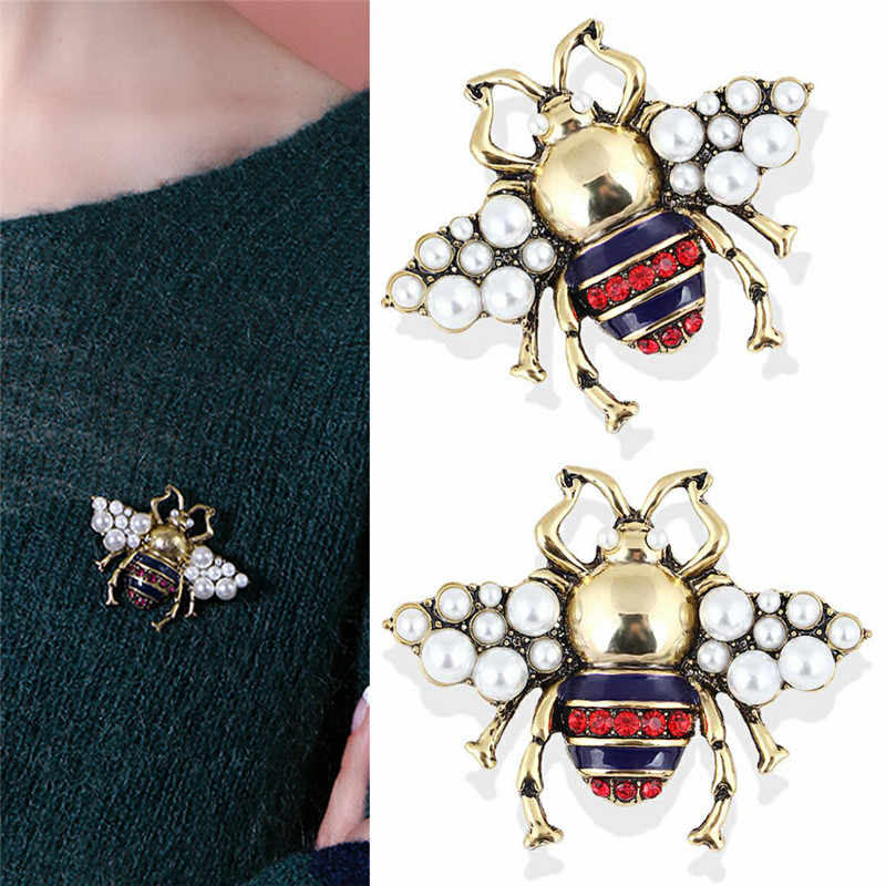 Stras i perła broszka pszczoła dla kobiet biżuteria w stylu Vintage moda broszka z owadem wysokiej jakości