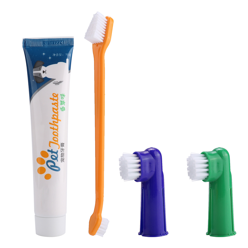 4Pcs Pet Dog Cat Toothbrush Toothpaste Set Care Tool Dual Headed Toothbrush Finger Brush Cleaning Set image