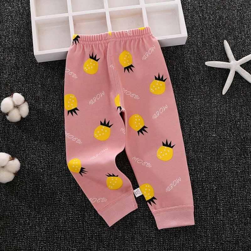 새로운 봄 가을 캐주얼 패션 긴 존스 아기 과일 인쇄 면화 바지 아이 바지
