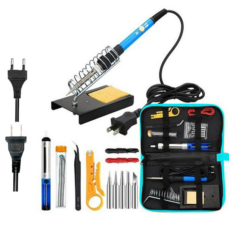 Electric Soldering Iron kit 15 in 1 Adjustable Temperature Welding Tool 60W Tweezers solder Repair Tools Storage Bag