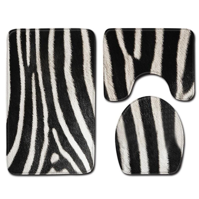 3 pieces/Set Zebra Skin Pattern Anti-silp Bath Mat Flannel Contour Rug Lid Toilet Cover Carpet Bathroom Set