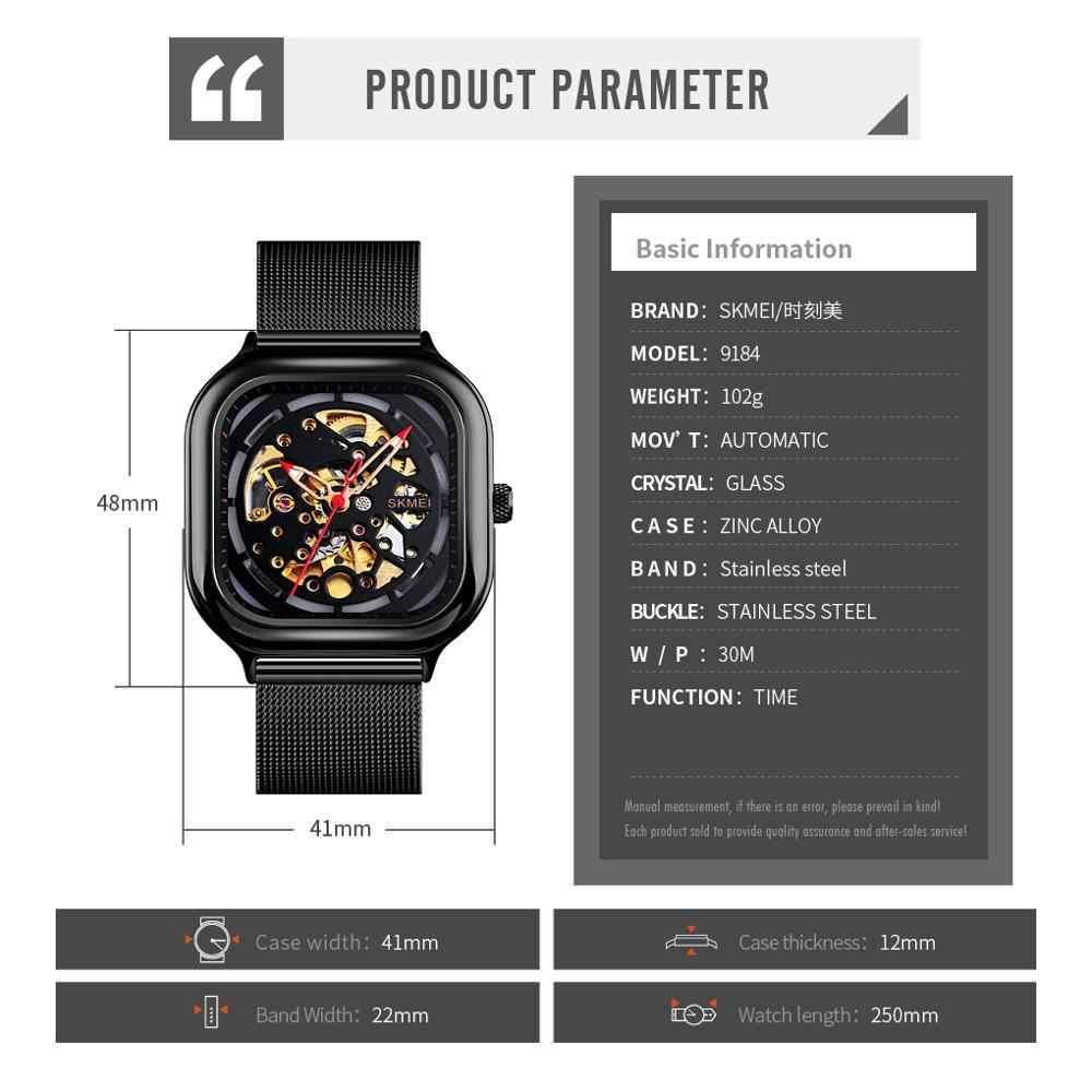 Skmei marca superior de luxo masculino automático relógios mecânicos à prova dwaterproof água masculino esporte relojes para hombre 9184 relógio masculino