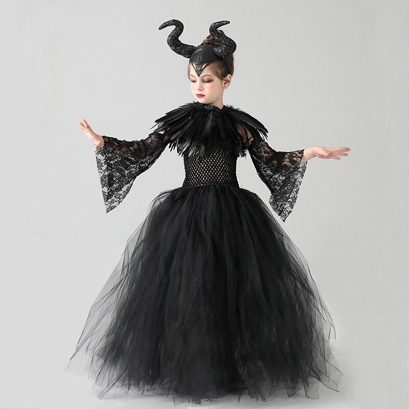Kids Black Devil Tutu Costume Gothic Halloween Girls Fancy Tutu Dress with Feather Shawl Royal Dark Queen Maleficent Gown Dress (3)