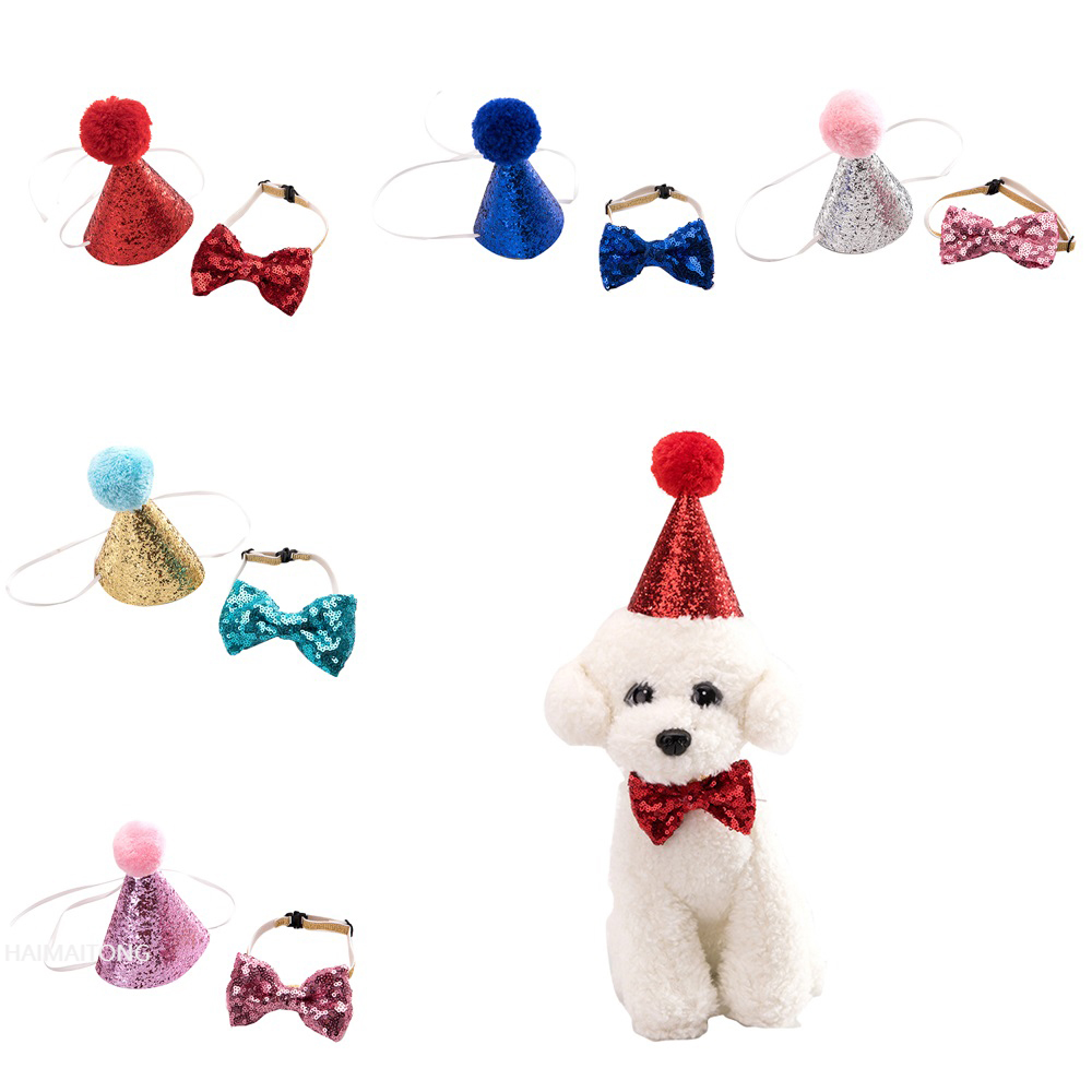 2Pcs/set Pet Dogs Caps With Bowknot Cat Dog Birthday Costume Sequin Design Headwear Cap Hat Christmas Party Pets Accessories