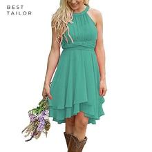 Short Bridesmaid Dresses Simple Turquoise Cheap Chiffon Formal Wedding Guest Gown vestidos de fiesta de noche Maid of Honor Gown