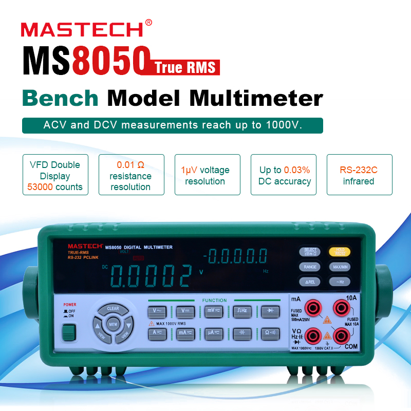 MASTECH <font><b>MS8050</b></font> 5 1/2 Digital Multimeter 53K Counts High Accurayc Bench/True RMS with carry box image