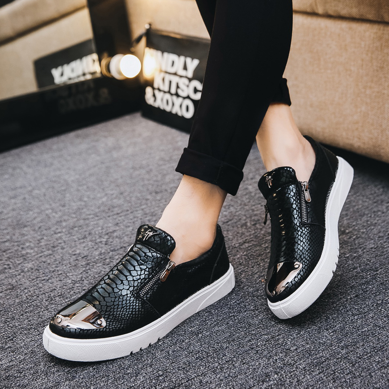 TOSJC Fashion Men Casual Loafers Snake Pattern Sneakers Breathable Slip on Skateboarding Shoes for Man Metal Sequin Zipper Shoes in Men 39 s Casual Shoes from Shoes