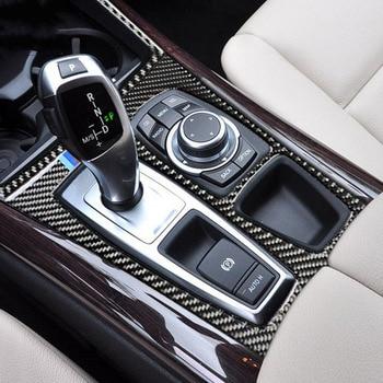 لسيارات BMW X5 X6 E70 E71 ألياف الكربون سيارة الداخلية مركز وحدة التحكم CD AD منفذ الهواء الزخرفية غطاء إطاري تصفيف السيارة 08-13