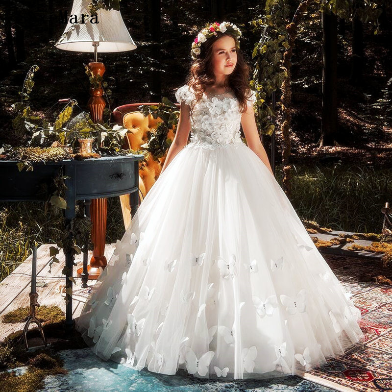 Ivory White Tulle 3D Butterfly Beautiful Flower Girl Dress For Wedding Kids Clothes For Party Communion Dress
