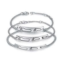Original design genuine 100% S925 sterling silver cartoon parent-child bracelet cute ankle three-piece high-end boutique jewelry