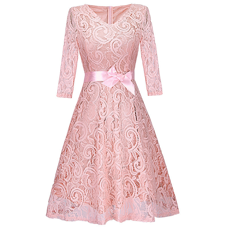 BacklakeGirls 2020 Elegant V Neck Floral Lace Women Solid Color Long Sleeve Cocktail Dress A Line Formal Party Dress