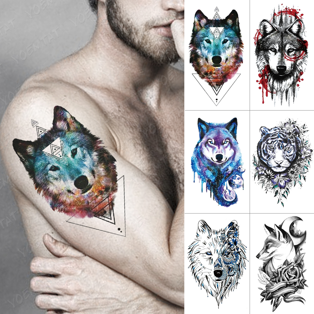 Waterproof Temporary Tattoo Sticker Wolf Tiger Lion Flash Tattoos Triangle Geometry Body Art Arm  Water Transfer Fake Tatoo Men