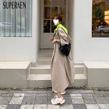 SuperAen Fashion Double Breasted Hooded Trench Coat for Women Winter New 2019 Co