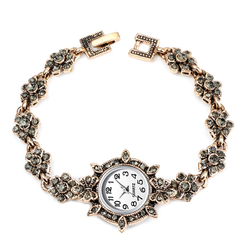2019 New Luxury Women Quartz Wrist Watch Antique Rose Gold Turkish Gray Rhinestone Bow Bracelet Vintage Watch Fashion Watches