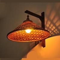 Chapéu de palha de bambu chinês luzes de parede personalidade bambu deco maison lustre lâmpada de parede de madeira maciça luminaria guarda-chuva lâmpada ao ar livre