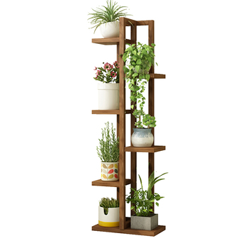 Flower Stand Multi-layer Indoor Shelf Balcony Storage Wrought Iron Solid Wood Living Room Floor Type Creative Pot Rack Home Hang