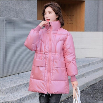 Lingwave Winter Cotton Padded Clothes Women Korean Loose Glossy Thick Casual Big Pocket Bread Clothing Stand-up Collar Jacket big stand up 2019 10 18t21 00